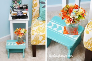 ScothBlue Painters Tape Stenciled Step Stool with livelaughrowe.com