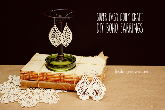 Super Easy Doily Craft. DIY Boho Earrings with livelaughrowe.com