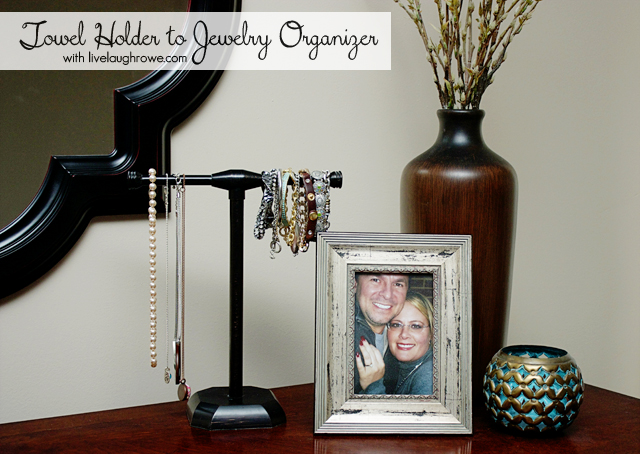 Towel Holder to Jewelry Organizer with livelaughrowe.com