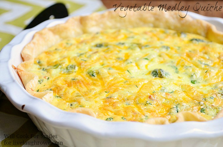Vegetable Medley Quiche from Will Cook for Smiles at www.livelaughrowe.com