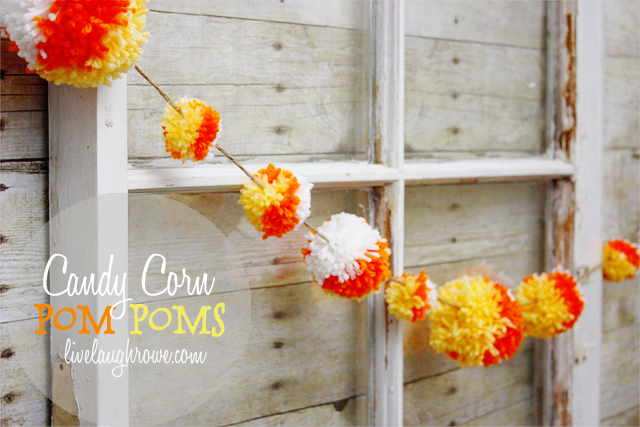 Candy Corn Pom Pom Garland with livelaughrowe.com