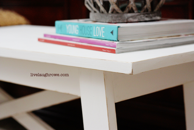 Closer look at Rustic White Bench | livelaughrowe.com