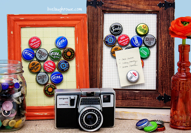 DIY Bottle Cap Magnet boards with livelaughrowe.com