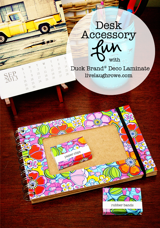 DIY Desk Accessories with Deco Adhesive Laminate at livelaughrowe.com
