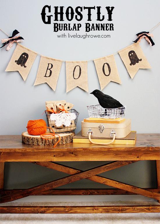DIY Ghostly Halloween Burlap Banner with livelaughrowe.com