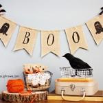 Ghostly Halloween Burlap Banner