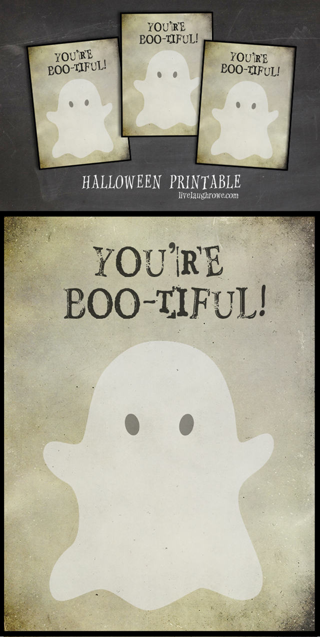 You're BOO-tiful! A fun Halloween printable that would be great for a classroom party or neighborhood pals. Print yours at livelaughrowe.com