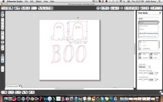 Making stencils for burlap Halloween banner