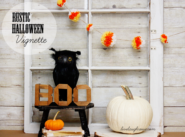 Rustic Halloween Vignette with livelaughrowe.com