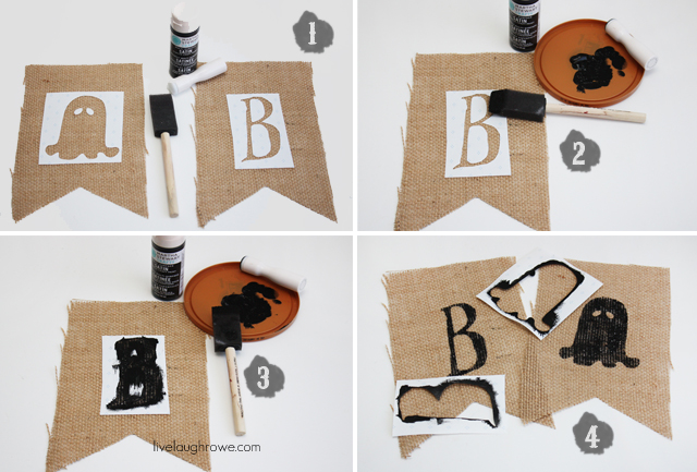 Tutorial for Ghostly Halloween Burlap Banner