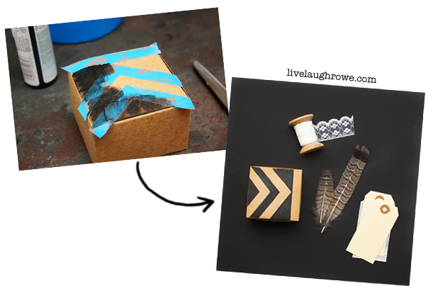 Using ScotchBlue painters tape to stencil tribal pattern onto kraft box with Live Laugh Rowe