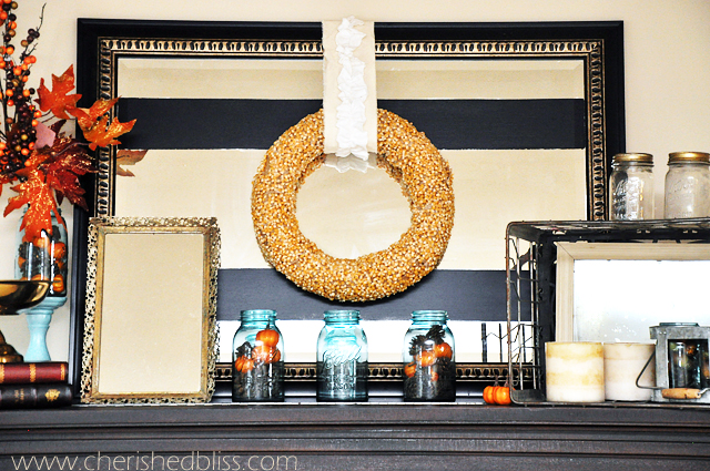 Vintage Inspired Fall Mantel from CherishedBliss.com