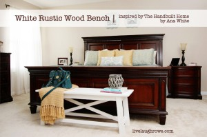 White Rustic Wood Bench painted white with Annie Sloan Chalk Paint at livelaughrowe.com