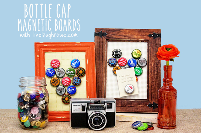 Bottle cap magnetic boards with livelaughrowe.com