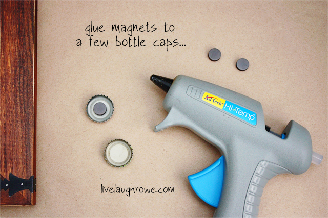 glue magnets to select bottle caps