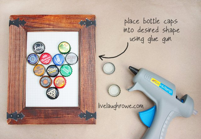 DIY Bottle Cap Magnetic Board with livelaughrowe.com