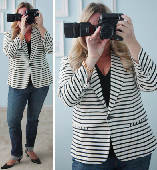 Christian Siriano Striped Jacket with livelaughrowe.com