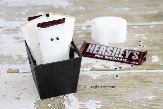 Cute Halloween Candy with crepe paper, chocolate bars and wiggly eyes with livelaughrowe.com
