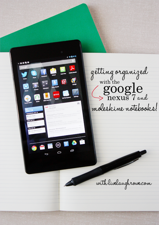Getting Organized with the Google Nexus 7 and Moleskine Notebooks. See how at livelaughrowe.com