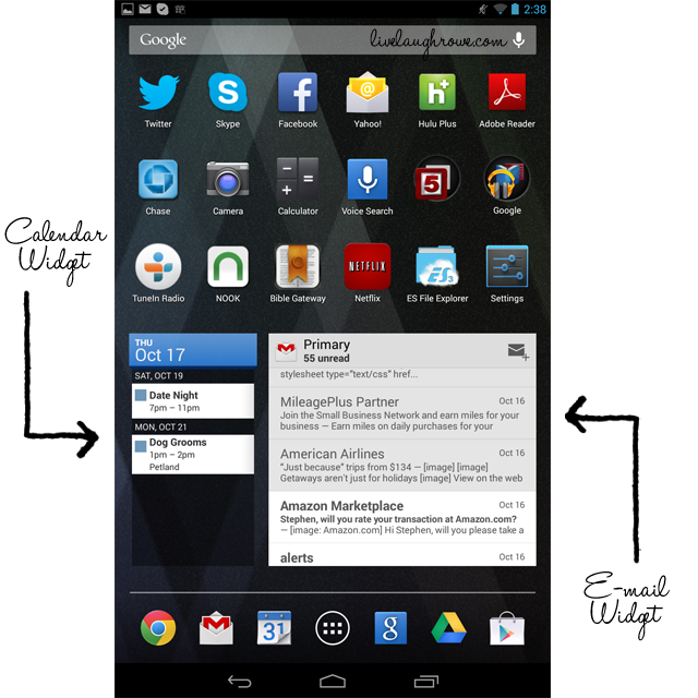 Getting Organized with the Google Nexus 7. Screen Shot with widgets at livelaughrowe.com