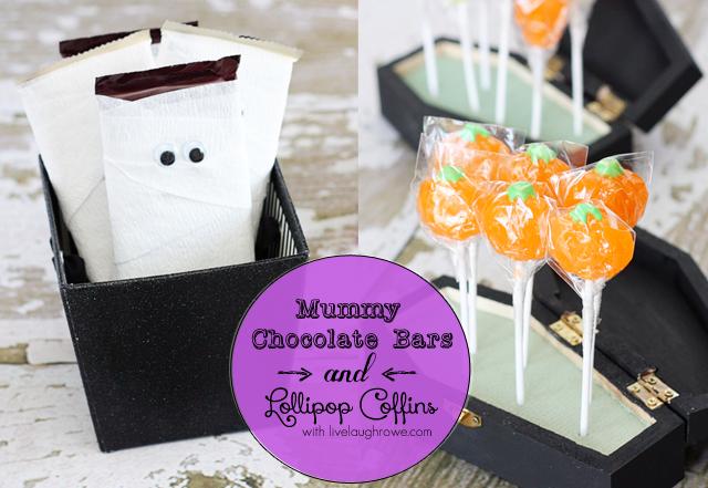 Halloween Fun! Mummy Chocolate Bars and Lollipop Coffins. Halloween fun with livelaughrowe.com