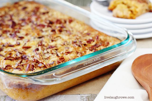 Pumpkin Dump Cake recipe with livelaughrowe.com