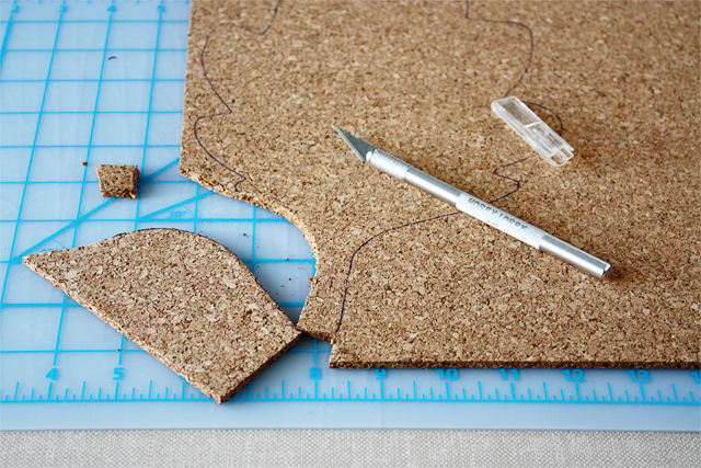 cutting out the leaf cork trivet