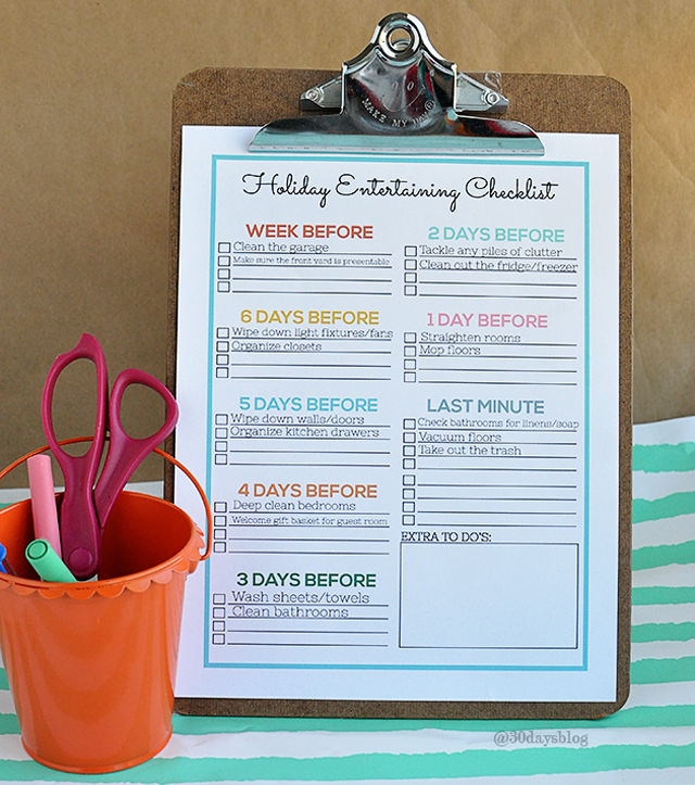 holiday entertaining checklist from thirty handmade days