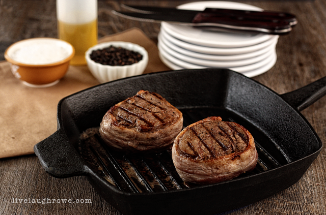 Perfectly Seasoned Bacon-Wrapped Filet Mignon with livelaughrowe.com