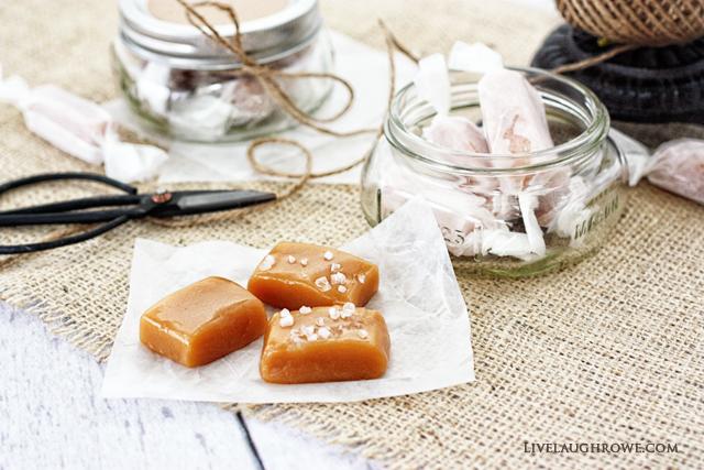 Delicious Homemade Salted Caramels with livelaughrowe.com
