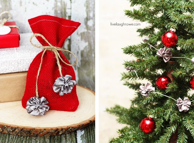 Christmas Crafts with mini scrunchy bows at livelaughrowe.com