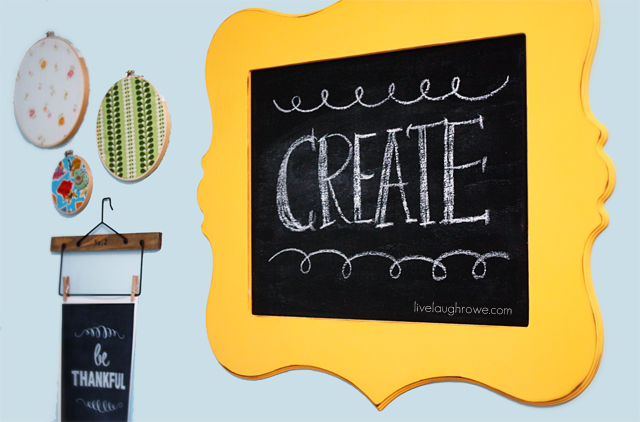 Closer Look at DIY Chalkboard using plywood and a wood cutout