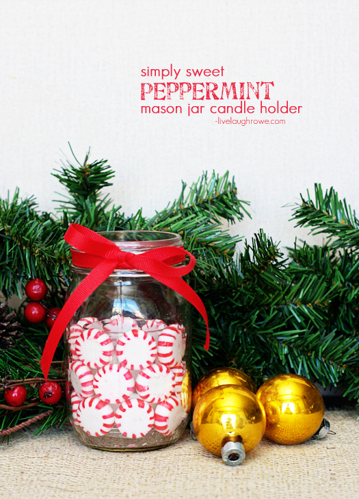 A simply sweet Peppermint Mason Jar Candle Holder with livelaughrowe.com