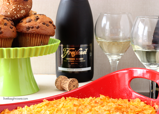 Brunch with Freixenet Sparkling Wine, Hashbrown Casserole and Muffins with livelaughrowe.com