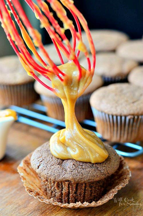 Chocolate Cupcakes with Peanut Butter Glaze 1 from willcookforsmiles.com and livelaughrowe.com