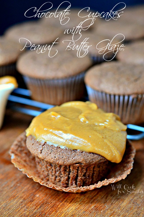 Chocolate Cupcakes with Peanut Butter Glaze from willcookforsmiles.com and livelaughrowe.com
