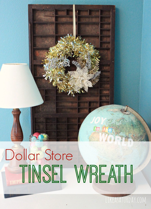 Dollar Store Tinsel Wreath from Like a Saturday