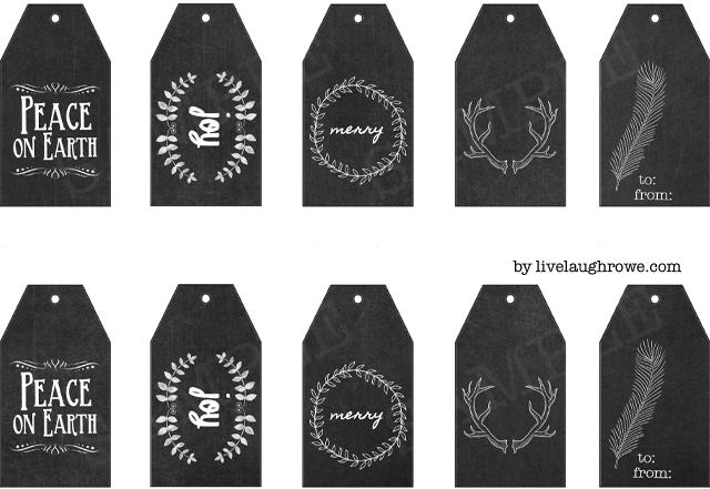 printable christmas chalkboard gift tags live laugh rowe