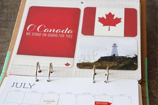 July layout dedicated to my Canadian husband using the Michaels Recollections Calendar Kit