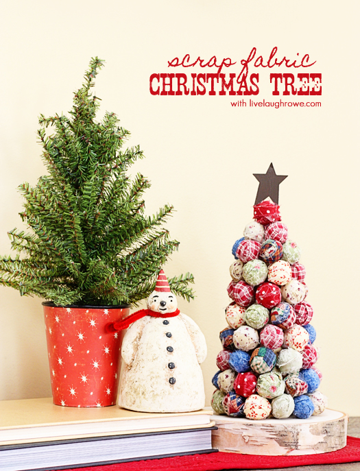 Scrap Fabric Christmas Tree using styrofoam balls with livelaughrowe.com