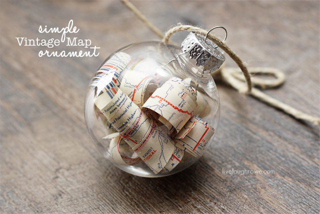Simple DIY Vintage Map Ornament with livelaughrowe.com