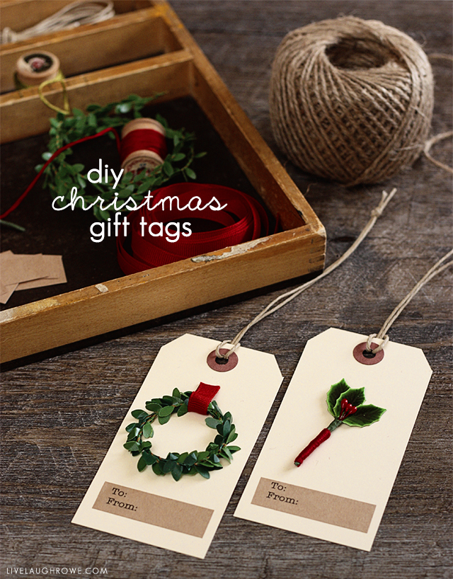 Challenge yourself to use some on-hand crafting supplies to design your own DIY Christmas Gift Tags this year. More about these beautiful tags at livelaughrowe.com