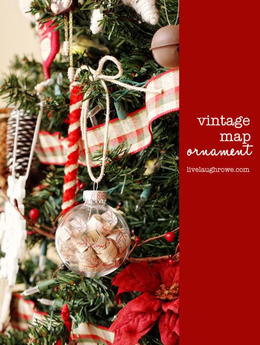 Vintage Map Christmas Ornament with livelaughrowe.com