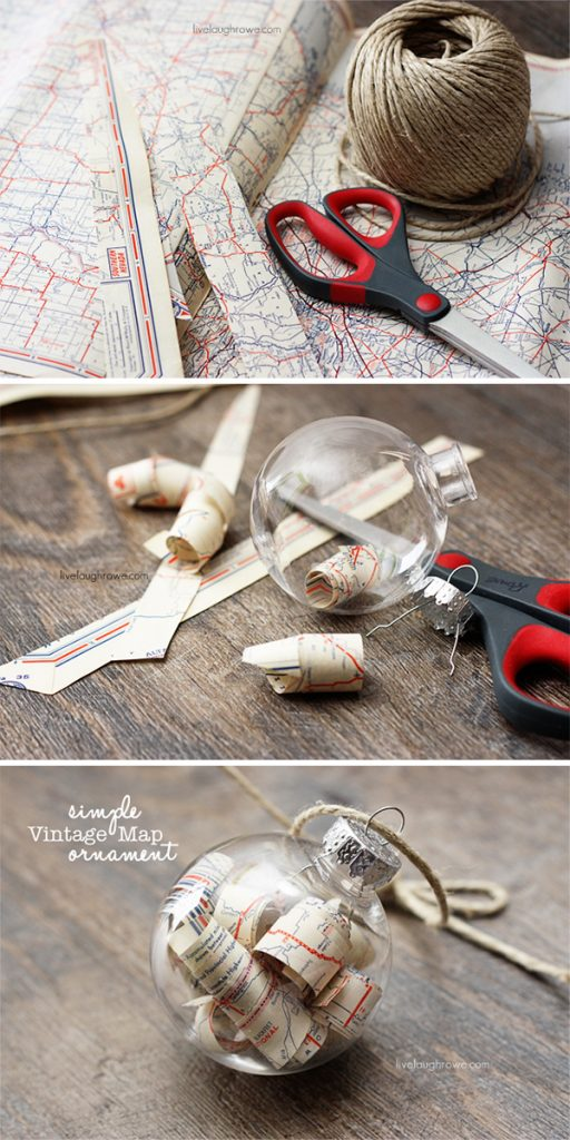 Vintage Map Christmas Ornament with livelaughrowe.com
