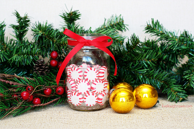 With a few simple supplies, add a sweet twist to your holiday centerpiece with these Peppermint Mason Jar Holders.  Tutorial at livelaughrowe.com