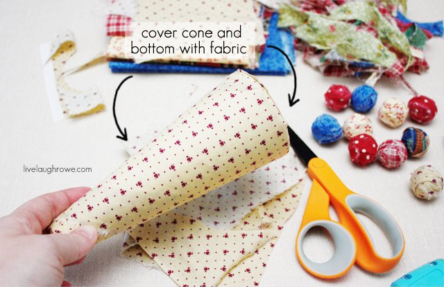 cover the styrofoam cone with fabric