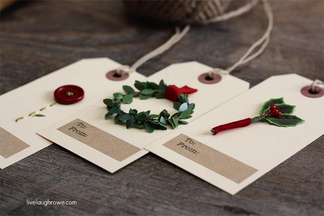 handmade christmas gift tags with livelaughrowe.com