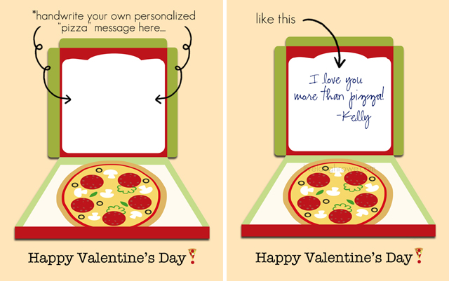 Handwrite your own cheesy valentine with this printable pizza valentine at livelaughrowe.com