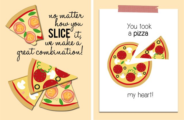 Printable Pizza Valentines