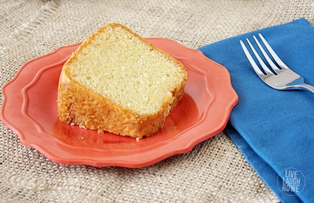 Perfectly moist!  Vanilla Sweet Cream Pound Cake substituting creamer for milk!  livelaughrowe.com